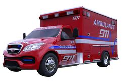 Emergency: ambulance vehicle isolated on white. All custom made and CG rendered Royalty Free Stock Photo