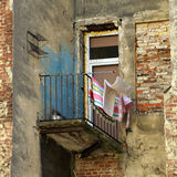 Emergency balcony of old house in Lviv Stock Photo