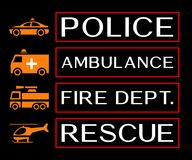 Emergency banners with ambulance, fire dept, rescue and police i. Con Stock Photos