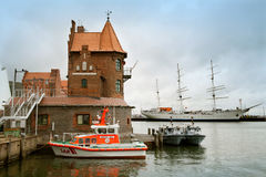 The emergency boat on rest in port of Stralsund Stock Photos