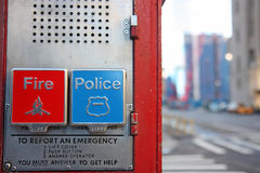 Emergency box in New York. Emergency box for the fire and police departments in New York stock image