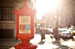 Emergency box in New York. Emergency box on the street of New York City stock photography