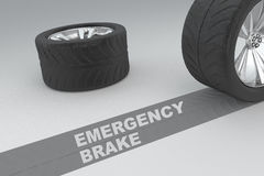 Emergency brake safety concept. Ual image of 3D rendered wheels with tires and sign over dark trace showing braking distances over grey background Royalty Free Stock Image
