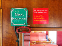 Emergency brake wagon train. Emergency brake in the wagon train Stock Images