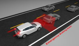 Emergency Braking Assist EBA sysyem to avoid car crash concept. Smart Car technology, 3D rendering. Image royalty free illustration
