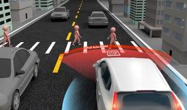 Emergency Braking Assist EBA sysyem to avoid car crash concept. Smart Car, 3D rendering. Emergency Braking Assist EBA sysyem to avoid car crash concept. Smart vector illustration