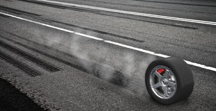 Emergency braking wheel with smoke on the highway. 3d render illustration vector illustration