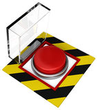 Emergency Button. A covered emergency button with plastic cover. Isolated on white Stock Image
