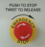 Emergency button. Clear sign for emergency stop button on a lift for disabled access Stock Photography