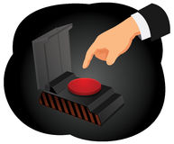 Emergency button. Hand of a businessman is waiting to push a red alarm button Royalty Free Stock Image