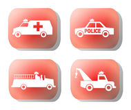 Emergency button illustration. Emergency silhouettes on red button illustration Royalty Free Stock Images