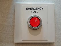 Emergency Button. Red emergency Button with white backing royalty free stock images