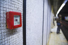 Emergency button in underground Stock Photography