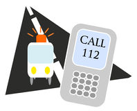 Emergency call. Illustration of ambulance with mobile phone Stock Images