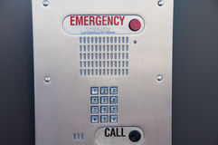 Emergency Call Box with Braille Instructions Stock Photo