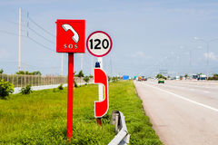 Emergency call box. Sits off to the side on highway Stock Image