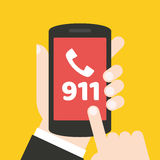 Emergency call 911 concept. Hand holding mobile phone. It can be used for a website, mobile application, presentation, corporate identity design, wherever you Stock Photo