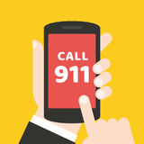 Emergency call 911 concept. Hand holding mobile phone. It can be used for a website, mobile application, presentation, corporate identity design, wherever you Stock Image