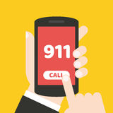 Emergency call 911 concept. Hand holding mobile phone. It can be used for a website, mobile application, presentation, corporate identity design, wherever you Stock Images