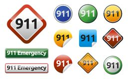 Emergency call 911. Differently Emergency call 911 isolated button collection Stock Photos