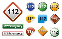 Emergency call 911. Differently Emergency call 911 isolated button collection Stock Images