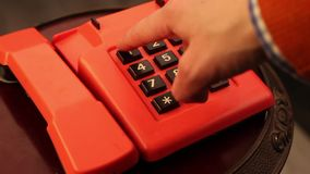 Emergency call 911. The hand dials the number 911 to call for help. Video stock video footage
