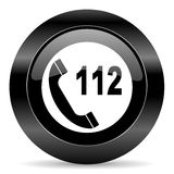 Emergency call icon. Black circle web button on white background stock illustration