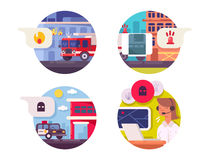 Emergency call icons set. Fire and ambulance or police. Vector illustration Stock Photography