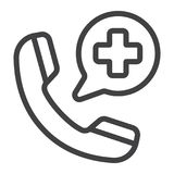 Emergency call line icon, medicine and healthcare. Medical support sign vector graphics, a linear pattern on a white background, eps 10 Stock Photo