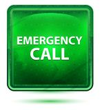 Emergency Call Neon Light Green Square Button royalty free illustration