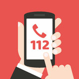 Emergency call number 112 - concept. It can be used for a website, mobile application, presentation, corporate identity design, wherever you decide that you need stock illustration