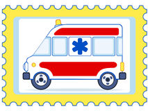 Ambulance postage stamp Royalty Free Stock Images