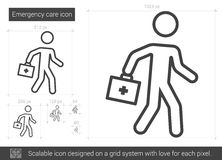 Emergency care line icon. Emergency care vector line icon isolated on white background. Emergency care line icon for infographic, website or app. Scalable icon Royalty Free Stock Photography