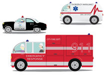 Emergency cars set. Royalty Free Stock Photos