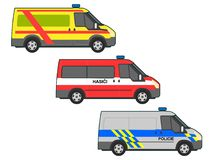 Emergency cars. Vector illustration of various types of emergency cars Royalty Free Stock Image
