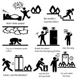 Emergency in case of fire icons concept poster Stock Photos