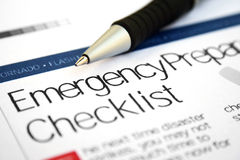 Emergency checklist. Close up of  emergency checklist Stock Photography