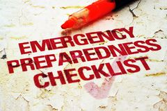 Emergency checklist. Close up of Emergency checklist Royalty Free Stock Photography