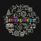 Emergency colorful gradient with line icons set. Vector editable stroke Royalty Free Stock Image