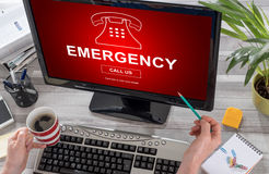 Emergency concept on a computer. Screen royalty free stock image