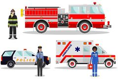 Emergency concept. Detailed illustration of female firefighter, doctor, policeman with fire truck, ambulance and police car in fla. Detailed illustration of Stock Image