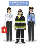 Emergency concept. Detailed illustration of female firefighter, doctor and policeman in flat style on white background. Detailed illustration of female fireman Stock Images