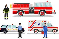 Emergency concept. Detailed illustration of firefighter, doctor, policeman with fire truck, ambulance and police car in Stock Image