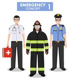Emergency concept. Detailed illustration of firefighter, doctor and policeman in flat style on white background. Vector. Detailed illustration of fireman Stock Photo
