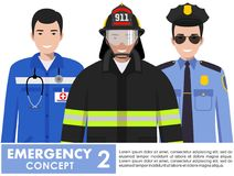 Emergency concept. Detailed illustration of firefighter, doctor and policeman standing together in flat style on white. Detailed illustration of fireman Royalty Free Stock Images