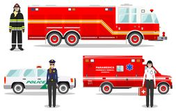 Emergency concept. Detailed illustration of firefighter, doctor, policewoman with fire truck, ambulance and police car. Detailed illustration of fireman vector illustration
