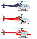 Emergency concept. Detailed illustration of medical, police and fire helicopter in flat style on white background Royalty Free Stock Image