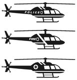 Emergency concept. Set of different silhouettes of medical, police and fire helicopter isolated on white background. Vector. Silhouette illustration of medical Royalty Free Stock Photos
