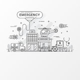 Emergency concept. Set of hospital and healthcare contains icon elements, ambulance, siren-equipped car, helicopter. Royalty Free Stock Image
