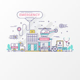 Emergency concept. Set of hospital and healthcare contains icon elements, ambulance, siren-equipped car, helicopter. Royalty Free Stock Photography